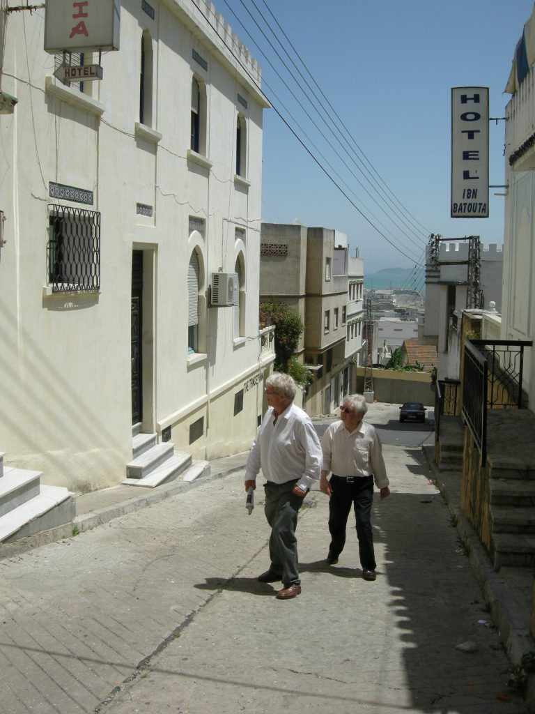 Miles and Christopher outside Hotel Muniria, Tangier [left]